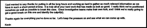 E-mail from Hunsaker thanking team for good work