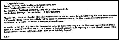 Hunsaker knows the leaker is Keyworth