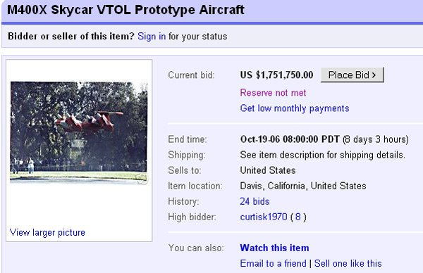 Moller flogs flying car on eBay