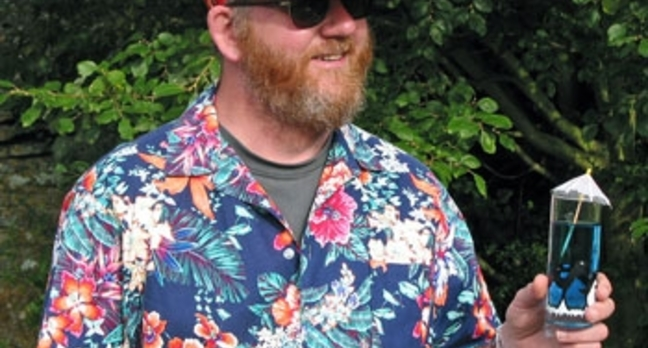Mark Whitehorn in Hawaiian shirt