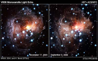 Light echoes captured by Hubble