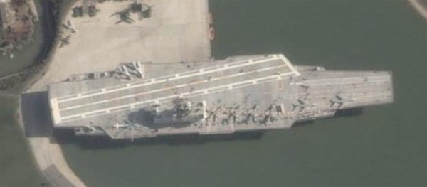 A close-up view of the flying aircraft carrier