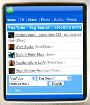 YouTube on a mobile phone, via Orb