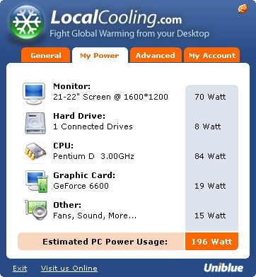 uniblue local cooling power-saving app