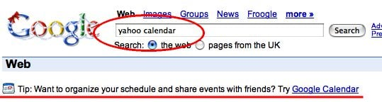 Screenshot of Google search results for 'yahoo calendar'