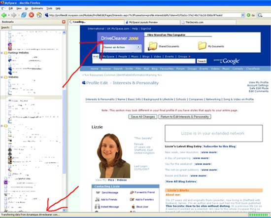 MySpace screenshot with DriveCleaner ad