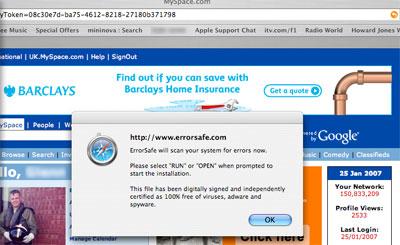 Screen grab of scareware on user's Apple