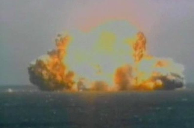 The launch explosion, captured in a Sea Launch video