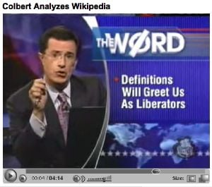 Colbert on Wikipedia last year