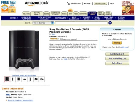 amazon.co.uk ps3 page at 13:30 gmt