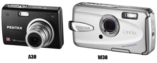 Pentax A30 and W30 compact digital cameras