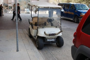 Shot of a golf cart with bull horns