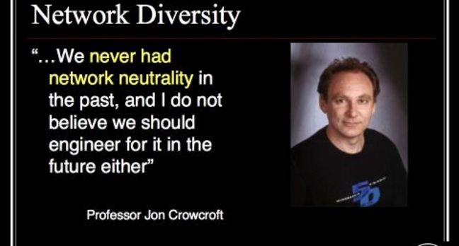 Andrew on Net Neutrality: Slide15 : Crowcroft - this net has never been neutral