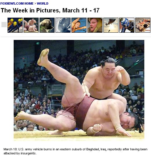 Picture of Sumo wrestlers - a burning vehicle in Baghdad, according to Fox News