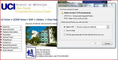 Screenshot of Cancer Center webpage offering Adobe Acrobat Professional