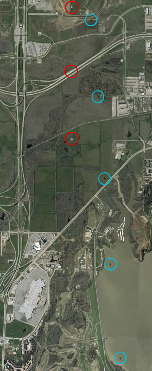 The flight path of the Dallas Forth Worth aircraft as seen on Google Earth