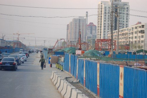 Shot of the streets under construction