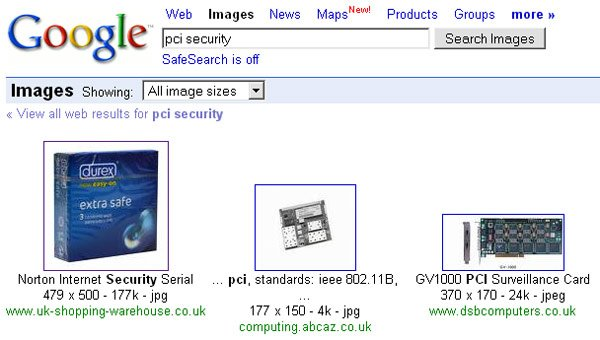 Google image search for 'PCI security' shows packet of Durex