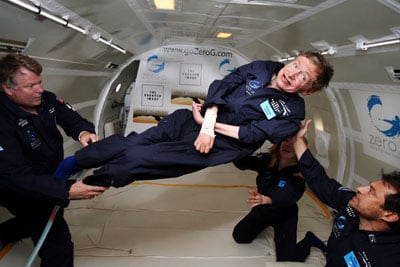 Stephen Hawking, weightless and happy