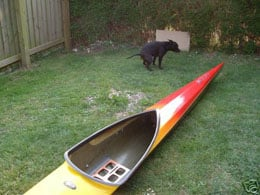 Photo from eBay listing showing kayak and crapping dog