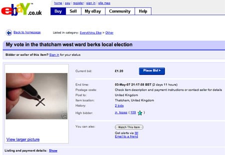 Vote for sale on eBay