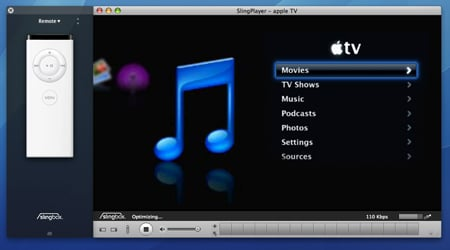 Sling Media's Slingplayer for Mac - connected to Apple TV