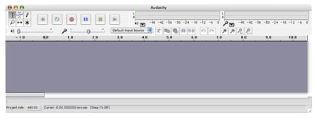Audacity software Mac OSX interface