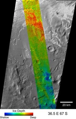 Ice depths, courtesy of THEMIS on the Odyssey probe. Credit, NASA/JPL