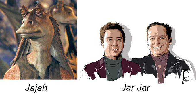 A picture of the founders of Jajah, and of the Star Wars character Jar Jar Binks
