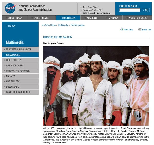 NASA's Image of the Day shows seven rather scruffy astronauts dressed as Arabs
