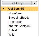 A screen shot of the mysterious buddy bots popping on AIM clients.