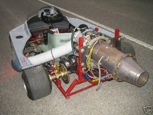 A photo of the jet-powered go-cart