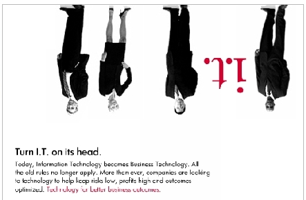 Shot of HP ad showing executives haning upside down. HP is putting IT on its head