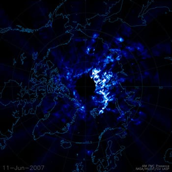 First satellite snaps of the noctilucent clouds. Image credit: NASA