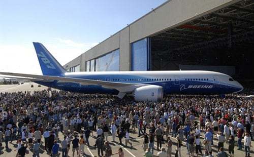 Boeing's 787 Dreamliner, seen at the launch in July 2007