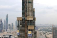 The Burj Dubai at a modest 96 stories earlier this year. Photo: Emaar