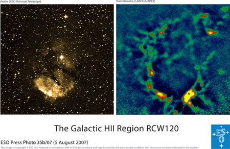 the Galactic HII region RCW 120 in the visible and in the submillimetre