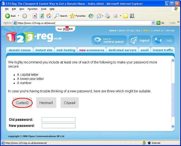 "A screenshot from Pipex suggesting the password ""Cunted2"""