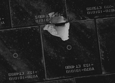 Damage to Endeavour's heat shield. Credit: NASA