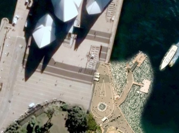 The low-res Sydney Opera House as currently seen on Google Earth