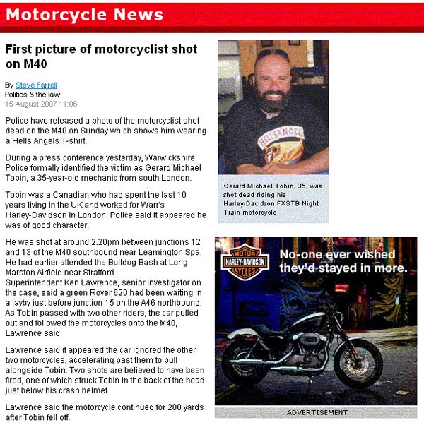 "Motorcycle News piece on dead biker with Harley Davidson ad declaring ""No-one ever wished they'd stayed in more"""