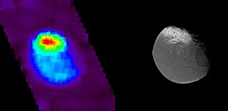 Two views of Iapetus, ultraviolet and visible light. Credit: NASA