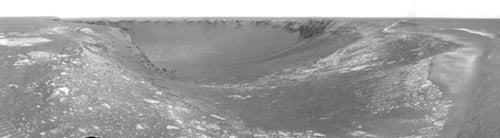 The view into Victoria Crater on Mars. Credit: Opportunity, for NASA