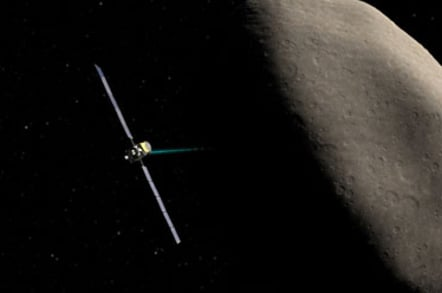 Artist's impression of Dawn flying past the dwarf-planet Ceres