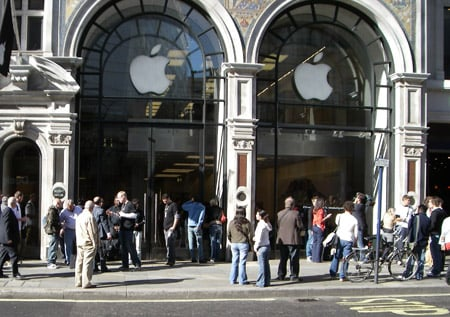 The UK press gather outside the Regent Street flagship Apple store