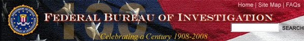 "FBI screengrab declaring: ""Celebrating a Century 1908-2008"""