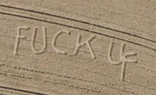 "Screen grab of Scottish corn field declaring ""Fuck U"""