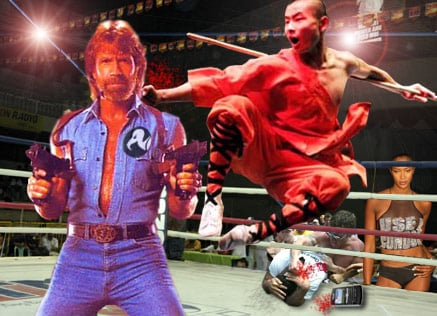 Our artist's impression of how Chuck Norris versus kung fu monk might look