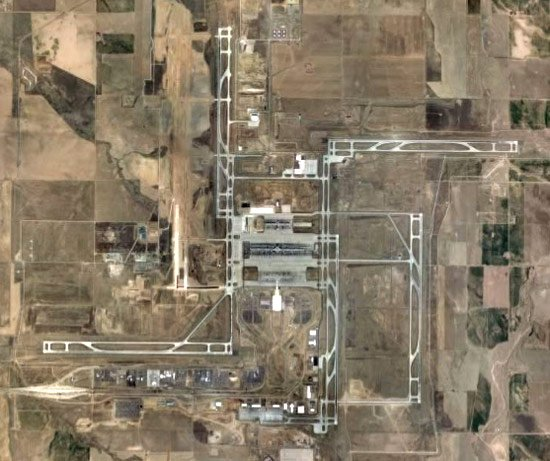 Denver International Airport on Google Earth - spooky swastika design