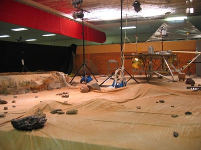 The stage is set for the Mars lander. Credit: Wendy M. Grossman